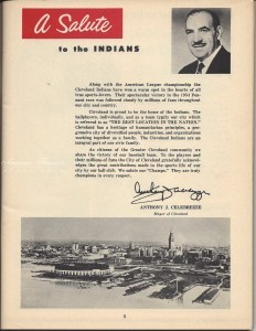 Aerial view of Cleveland Stadium on page 3 of the 1954 World Series program