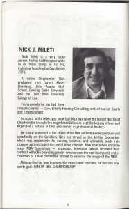 1978-79 Cleveland Cavaliers yearbook and media guide pg.4 Nick Mileti