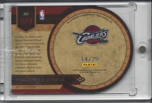 Shaquille O'Neal #SO 2010 Panini Crown Royale Majestic Signatures 14 of 25 back
